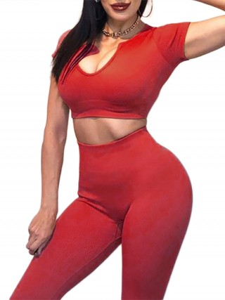 Jujube Red Low-Cut Neck Crop High Waist Yogawear Set Breathable