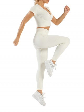 Off White Seamless Yoga Suit High Waist Low-Cut Neck For Girls
