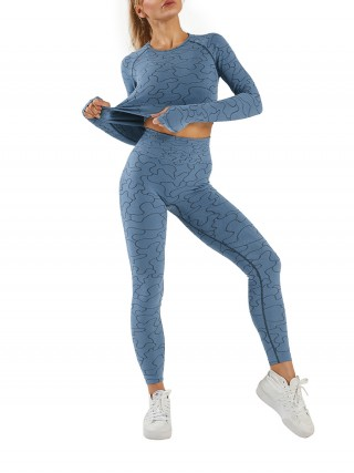 Blue Seamless Sports Suit Thumbhole Full Length Well-Suited