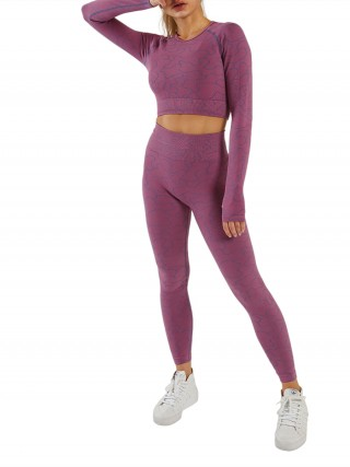 Sporty Purple Irregular Paint Cut Out Seamless Yoga Set Outdoor Activity
