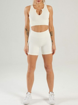 Creamy-White Seamless Yoga Bra Low Neck And Shorts Suit Online
