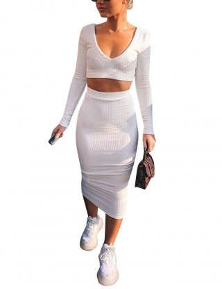 Entrancing White Solid Color Crop Top And Midi Dress Honeymoon