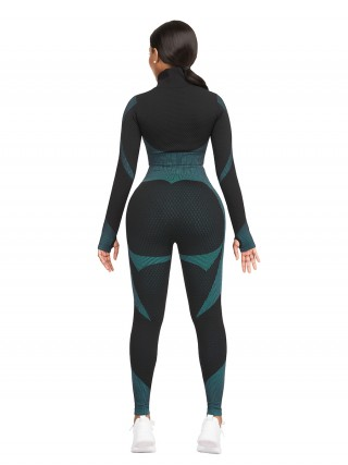 Lake Blue Thumbhole Zipper Contrast Color Yoga Suit For Female Runner