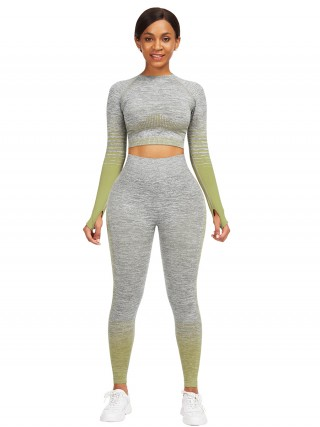 Flawlessly Army Green Thumbhole Crop Top Full Length Leggings Exercise Outfit