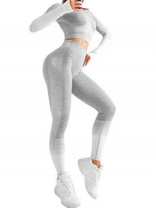 Stretch Gray Seamless High Rise Patchwork Yoga Suit For Runner