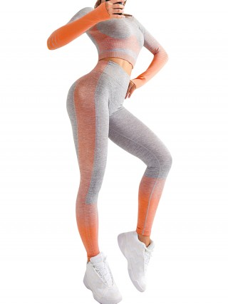 Basic Boutique Orange Long Sleeves Crop Top And Sports Pants Sensual Silhouette