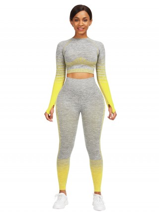 Interesting Yellow Tie-Dyed Cropped Top High Rise Leggings For Fitness