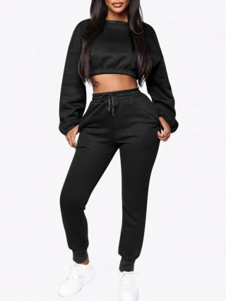 Simplicity Black Cropped Long Sleeves Sports Suit With Pocket
