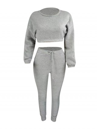 Gray Round Neck Crop Top And High Waist Pants Outdoor Activity