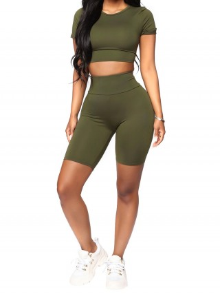 Chic Dark Green Short Sleeve Top Thigh Length Shorts For Lounging