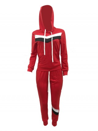 Breathable Red Colorblock Sweat Suit Hooded Neck Simplicity