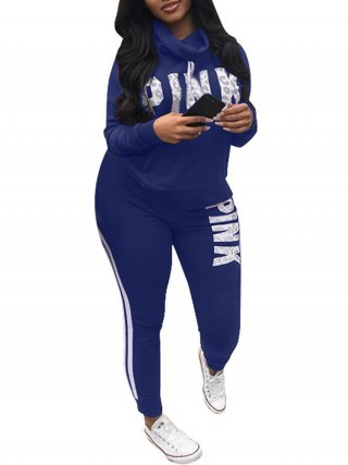 Exclusive Royal Blue Letter Printed Queen Size Sweatsuit For Women Runner