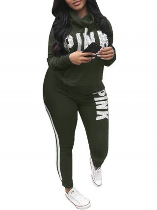 Extreme Army Green High Neck Top And Sport Pants Big Size Elasticated