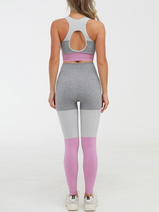 Airy Pink High Rise Yoga Suit Seamless Cutout Female Grace