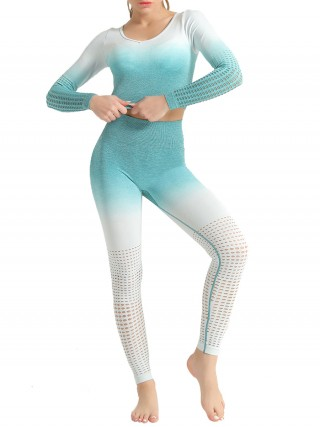 Stretchy Green Patchwork Seamless Athlete Suit Hollow Fashion
