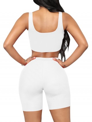 Classic White Cropped Sports Shorts Suit High Waist Forward Women