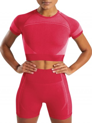 Ultimate Fit Rose Red Cutout Back Sports Suit Round Neck
