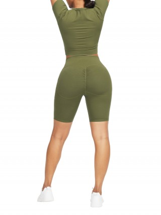 Fetching Army Green Crew Neck Top Wide Waistband Shorts For Workout