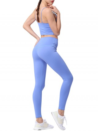 Modern Sky Blue U-Neck Strap Bra Ankle Length Leggings Comfort