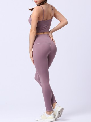 Basic Boutique Purple Sling Tank Top Full Length Leggings Fashion Style