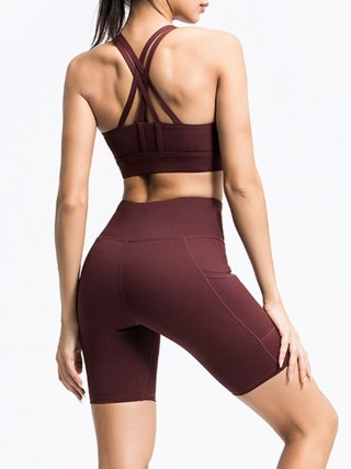 Comfortable Dark Brown Running Suit High Waist Open Back High Quality