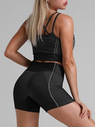 Energetic Black Crisscross Back High Waist Sweat Suit For Stunner