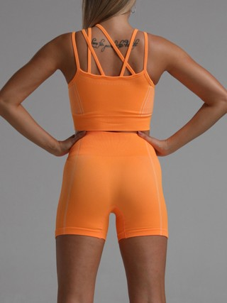 Allover Orange Hollow Out Sports Suit Thigh Length Ladies Sportswear