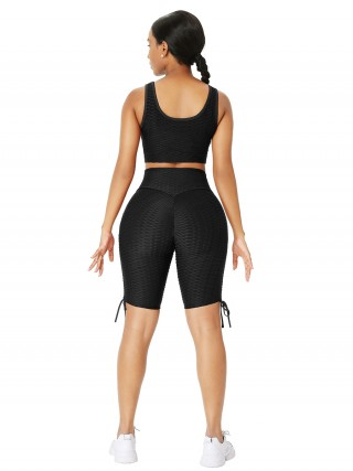 Black Drawstring Athletic Suit High Waist Workout Activewear