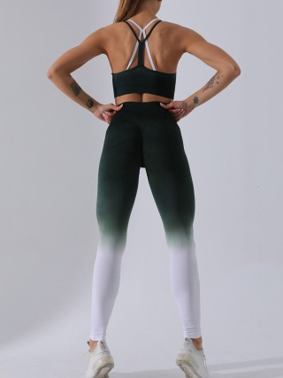 Enthusiastic Green Backless Sling Bra Ankle Length Leggings For Workout