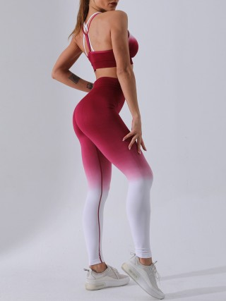 Modern Ladies Red Dip Dye High Waist Running Suit Moving Online