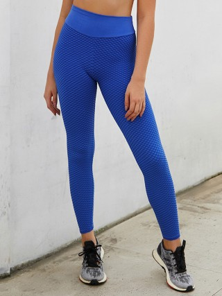 Exquisitely Blue Ankle Length Wide Waistband Tik Tok Leggings For Girl