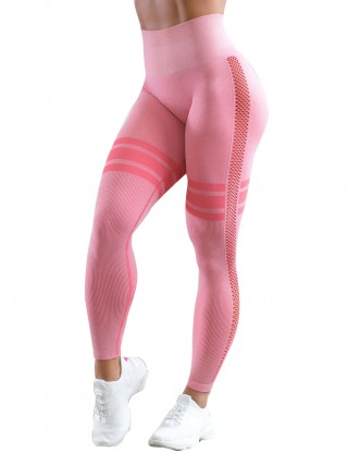 Light Pink Yoga Leggings Stripe Ankle Length Mesh Workout Activewear