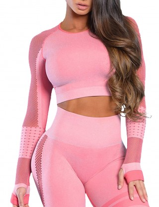 Athletic Light Pink Mesh Patchwork Sport Top Full Sleeve For Warmup
