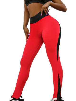 Popularity Red Yoga Legging High Rise Mesh Patchwork Best Materials