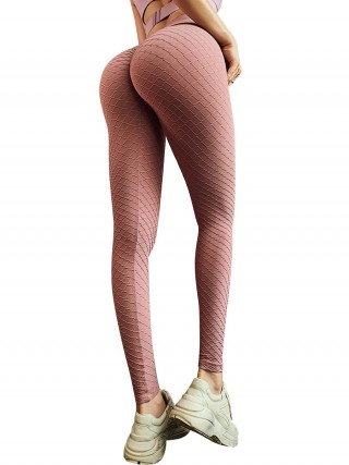 Sporty Pink Seamless High Waist Running Leggings Elastic Material