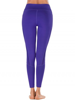 Virtuoso Deep Purple Ankle Length Mesh Plain Yoga Legging Moving