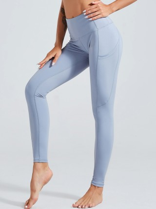 Glaring Light Blue Elastic Athletic Legging Lift Butt Cheap Fashion Style