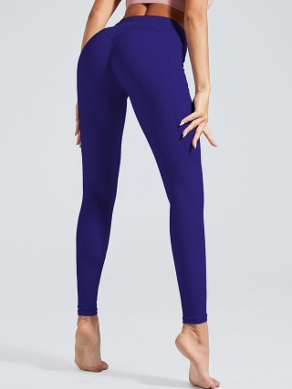 National Navy Solid Color Tummy Control Sport Legging Feminine Grace