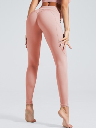 Island Paradise Pink Side Pockets Yoga Leggings High Waist Soft