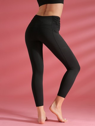 Workout Black High Waist Yoga Leggings Solid Color For Running