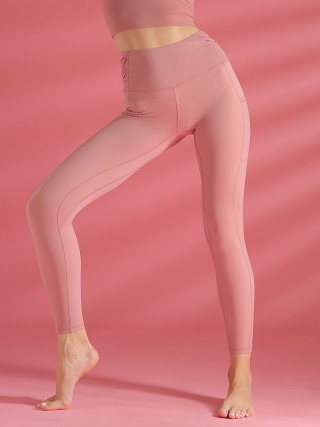 Contouring Light Pink Sports Legging With Pockets High Rise Cool Fashion
