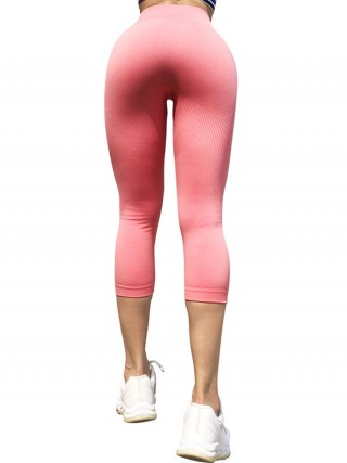Flexible Pink Stripe High Waist Athletic Leggings For Woman Clothing