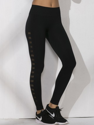 Slimming Black Ankle Length Hollow Out Sports Legging For Women