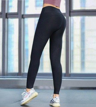 Tailored Black High Rise Yoga Leggings Full Length Athletic Outfit