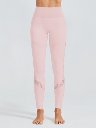 Classy Light Pink Yoga Leggings Full Length Eyelet Newest Fashion