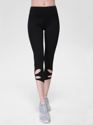 Adorable Black Hollow Sport Leggings Three Quarter For Lounging