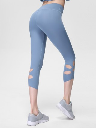 Holiday Light Blue High Waist 3/4 Length Yoga Leggings Bestie Gift