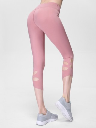 Staple Light Pink Cropped Athletic Leggings High Rise Sensual Curves