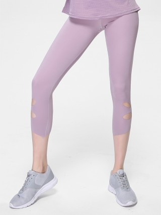 Curve Smoothing Light Purple Solid Color 3/4 Yoga Legging Cutout