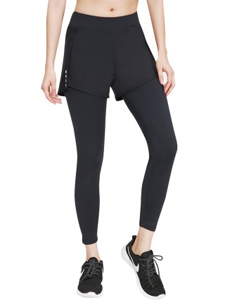 Fetching Black Fake Two-Piece Yoga Legging High Rise Casual Wear